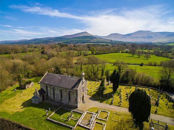Aerial view of Clonbeg Church, Aherlow