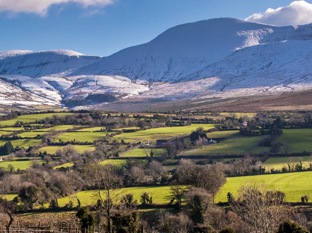 Snow-covered Galtee Mountains